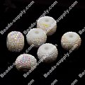 Beads,white base pave resin beads, half AB plated